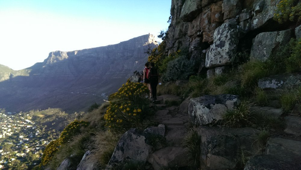 People in front hiking up Lions Head.