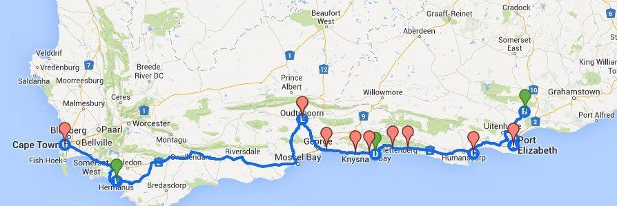 Garden Route Map Johnny Africa